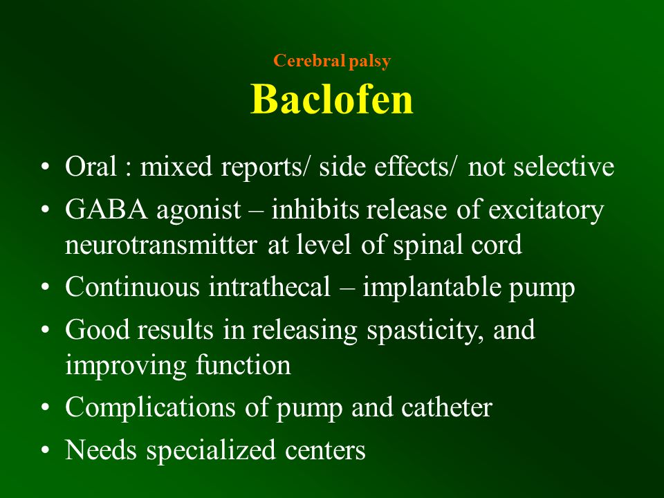 Cerebral palsy Baclofen