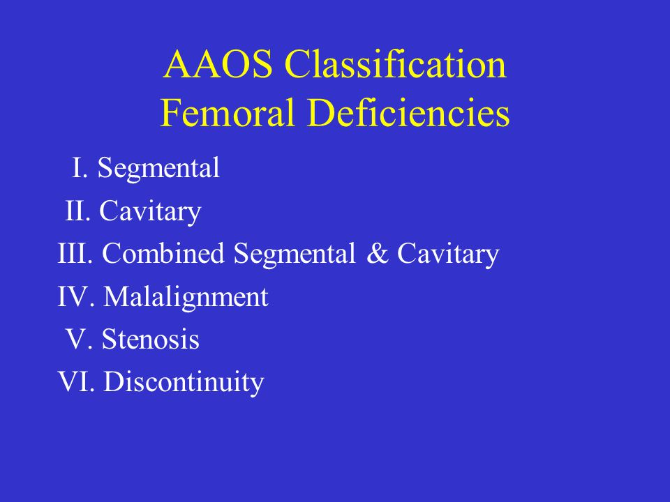 AAOS Classification Femoral Deficiencies