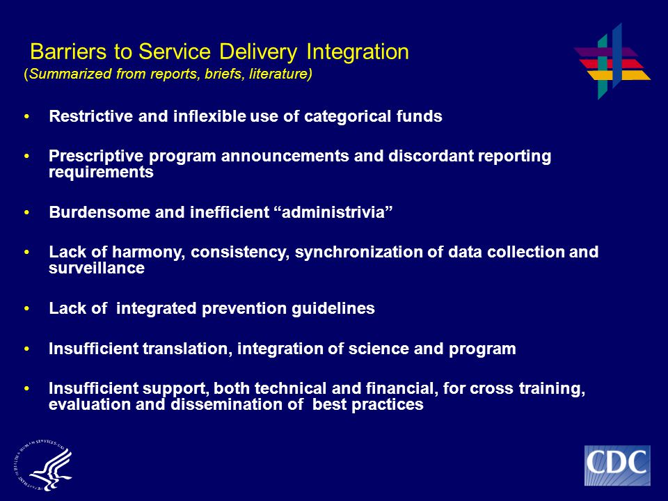 Barriers to Service Delivery Integration (Summarized from reports, briefs, literature)