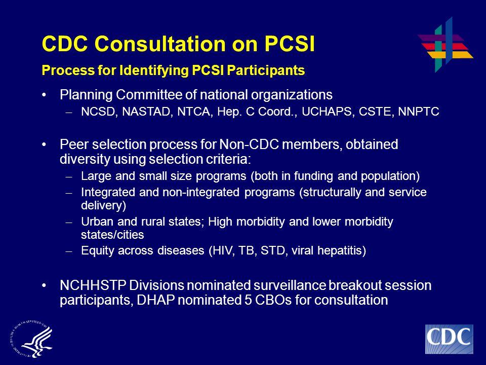 CDC Consultation on PCSI Process for Identifying PCSI Participants