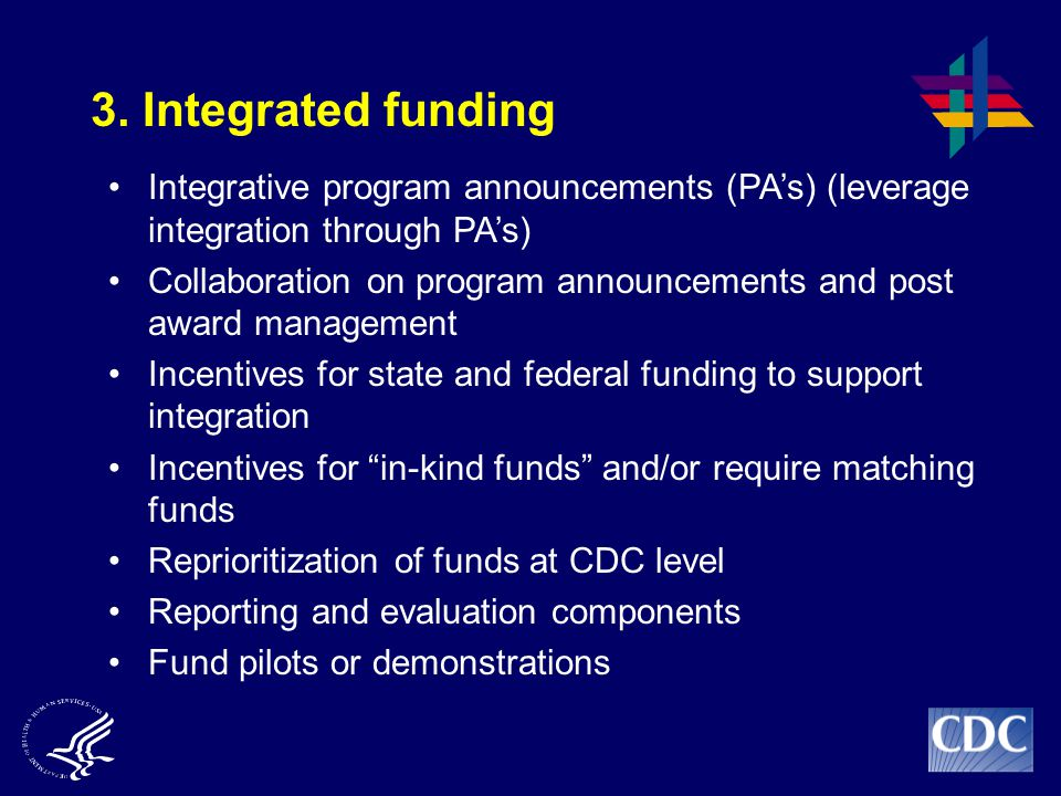 3. Integrated funding Integrative program announcements (PA's) (leverage integration through PA's)