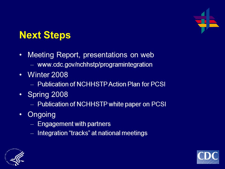 Next Steps Meeting Report, presentations on web Winter 2008