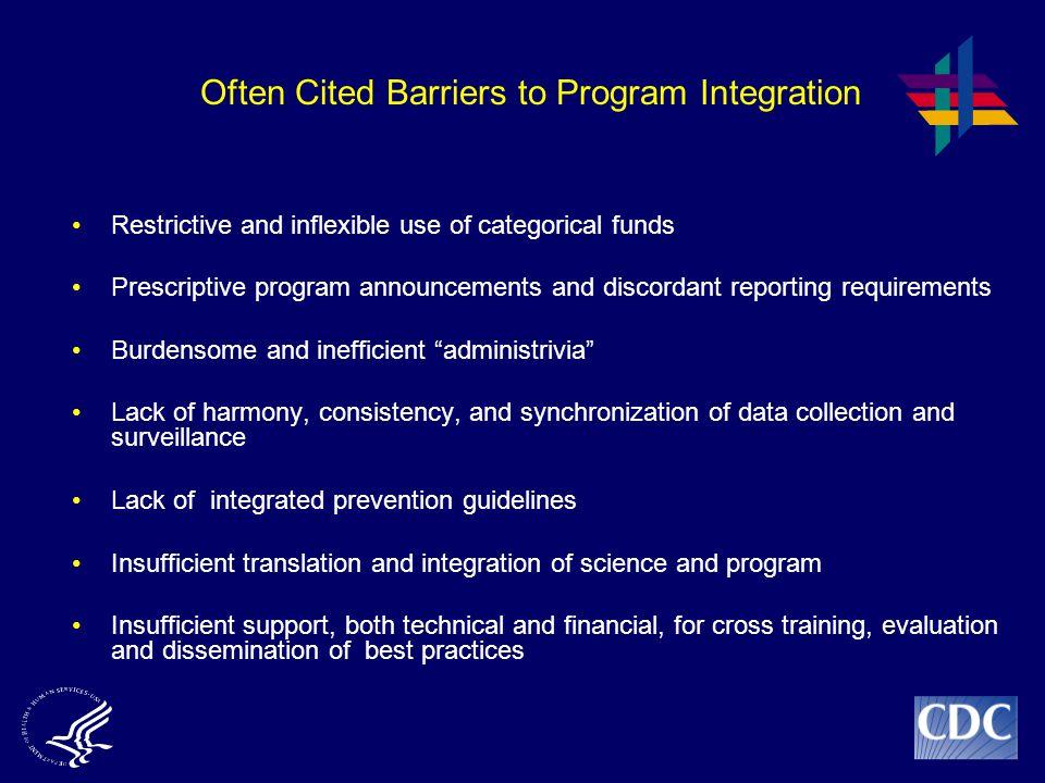 Often Cited Barriers to Program Integration