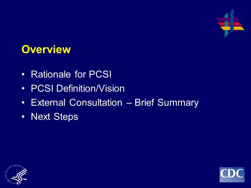 Overview Rationale for PCSI PCSI Definition/Vision