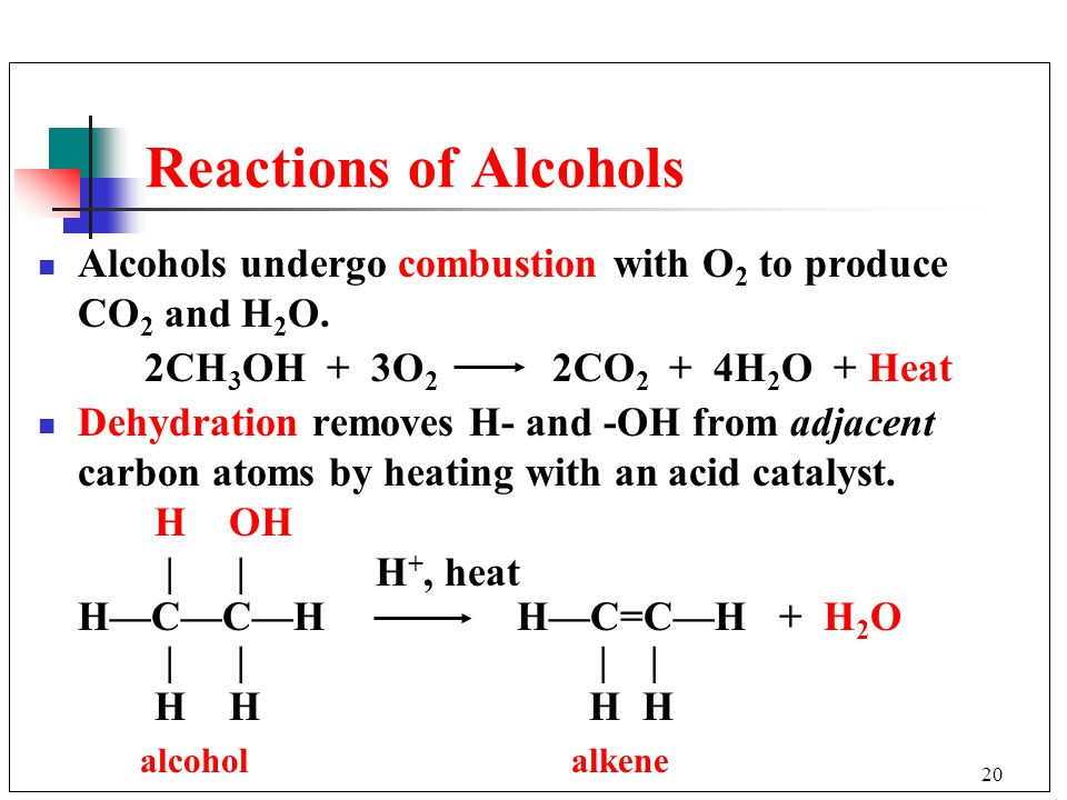 Reactions of Alcohols Alcohols undergo combustion with O2 to produce CO2 and H2O. 2CH3OH + 3O2 2CO2 + 4H2O + Heat.