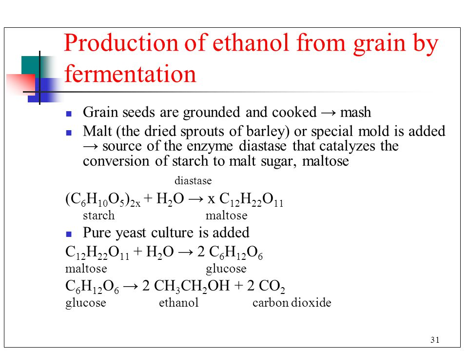 Production of ethanol from grain by fermentation