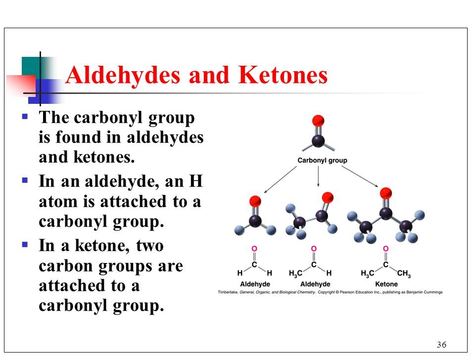 Aldehydes and Ketones The carbonyl group is found in aldehydes and ketones. In an aldehyde, an H atom is attached to a carbonyl group.