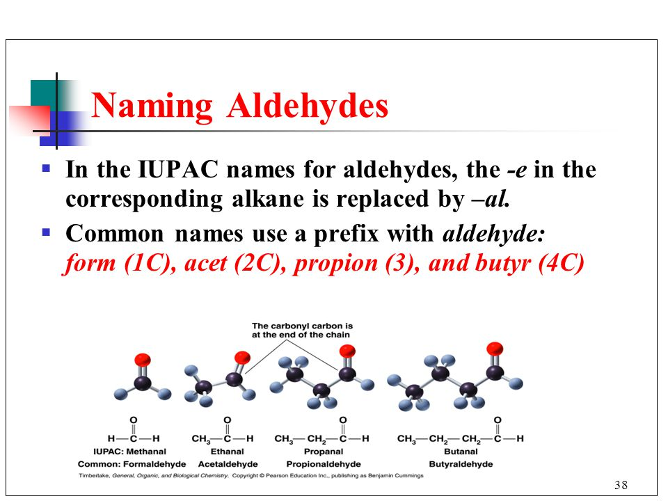 Naming Aldehydes In the IUPAC names for aldehydes, the -e in the corresponding alkane is replaced by –al.