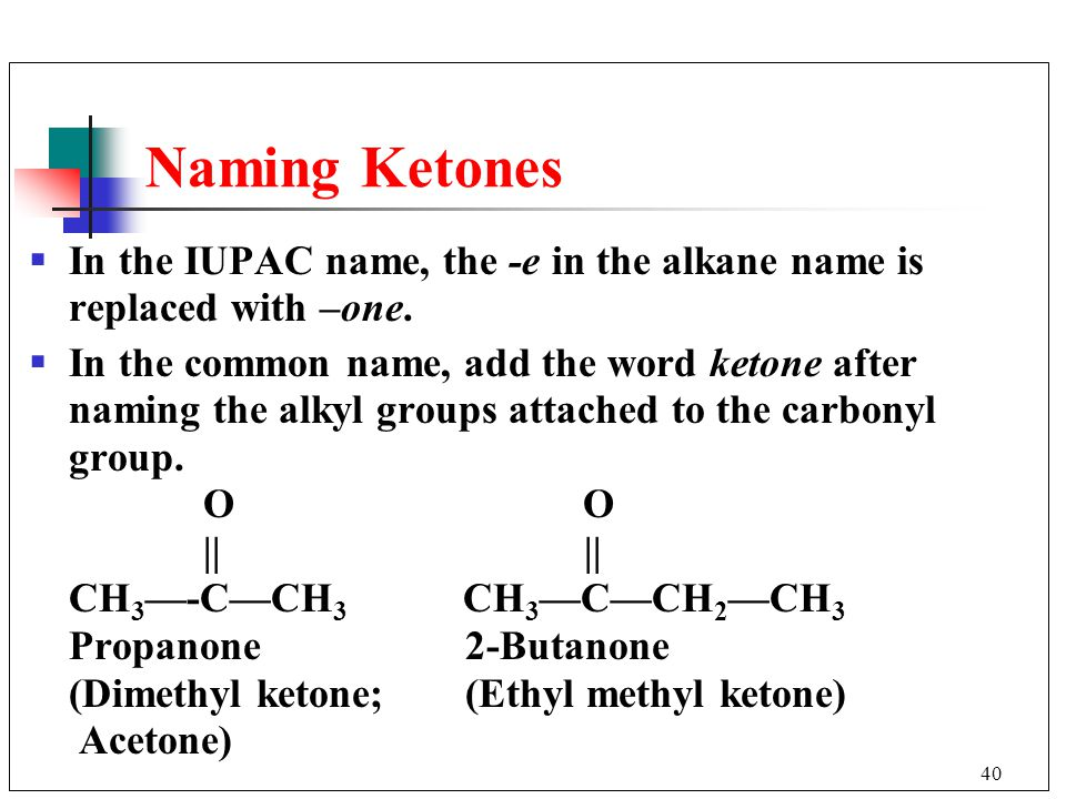 Naming Ketones In the IUPAC name, the -e in the alkane name is replaced with –one.