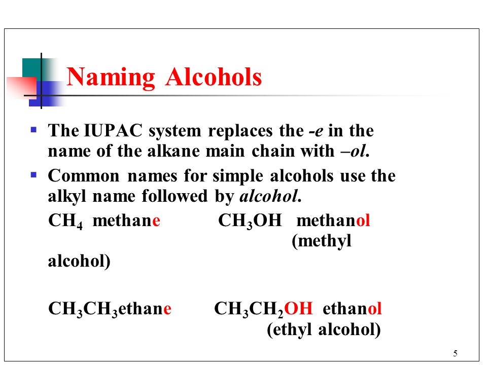 Naming Alcohols The IUPAC system replaces the -e in the name of the alkane main chain with –ol.
