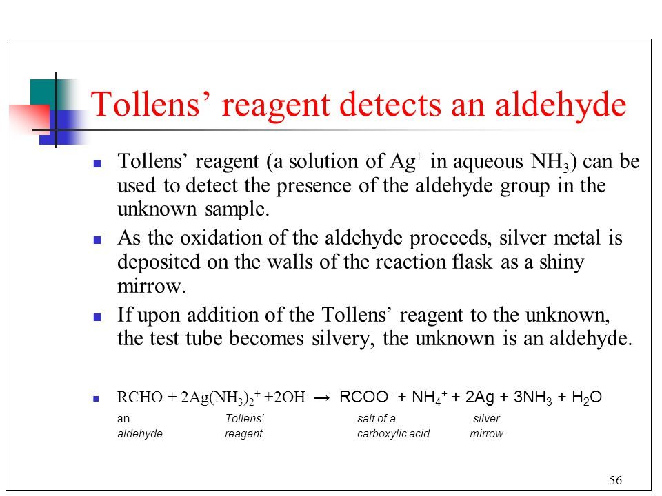 Tollens' reagent detects an aldehyde