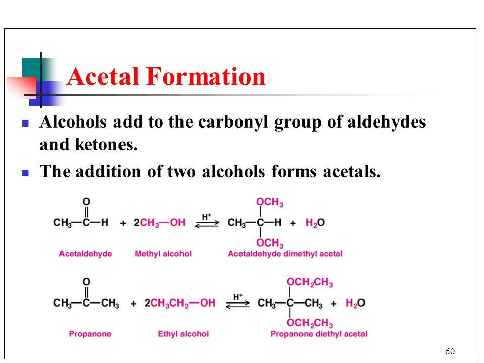 Acetal Formation Alcohols add to the carbonyl group of aldehydes and ketones.