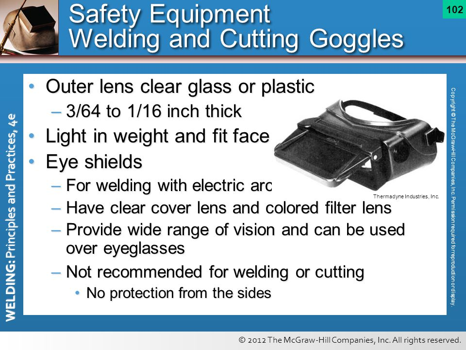 Safety Equipment Welding and Cutting Goggles