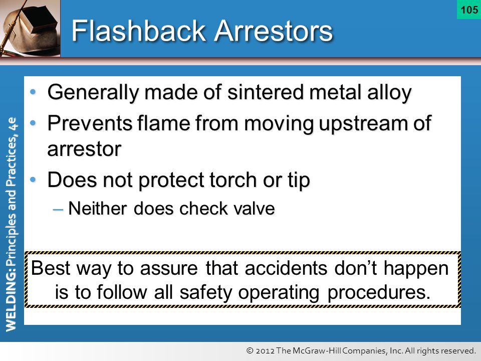 Flashback Arrestors Generally made of sintered metal alloy