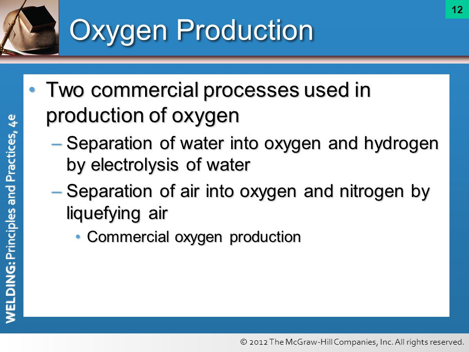 Oxygen Production Two commercial processes used in production of oxygen. Separation of water into oxygen and hydrogen by electrolysis of water.