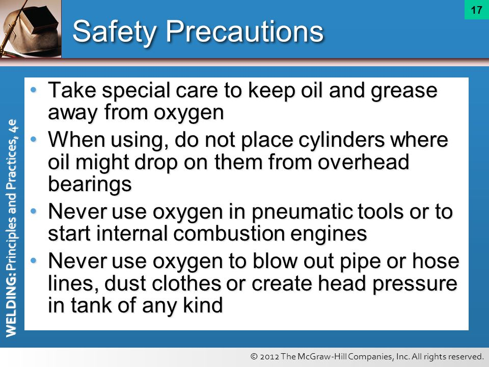 safety precautions in welding operations Cutting and welding operations the convenience of arc and gas welding and cutting allows the performance of repair jobs in almost any location failure to use proper safety precautions during welding or cutting operations presents a serious fire hazard.