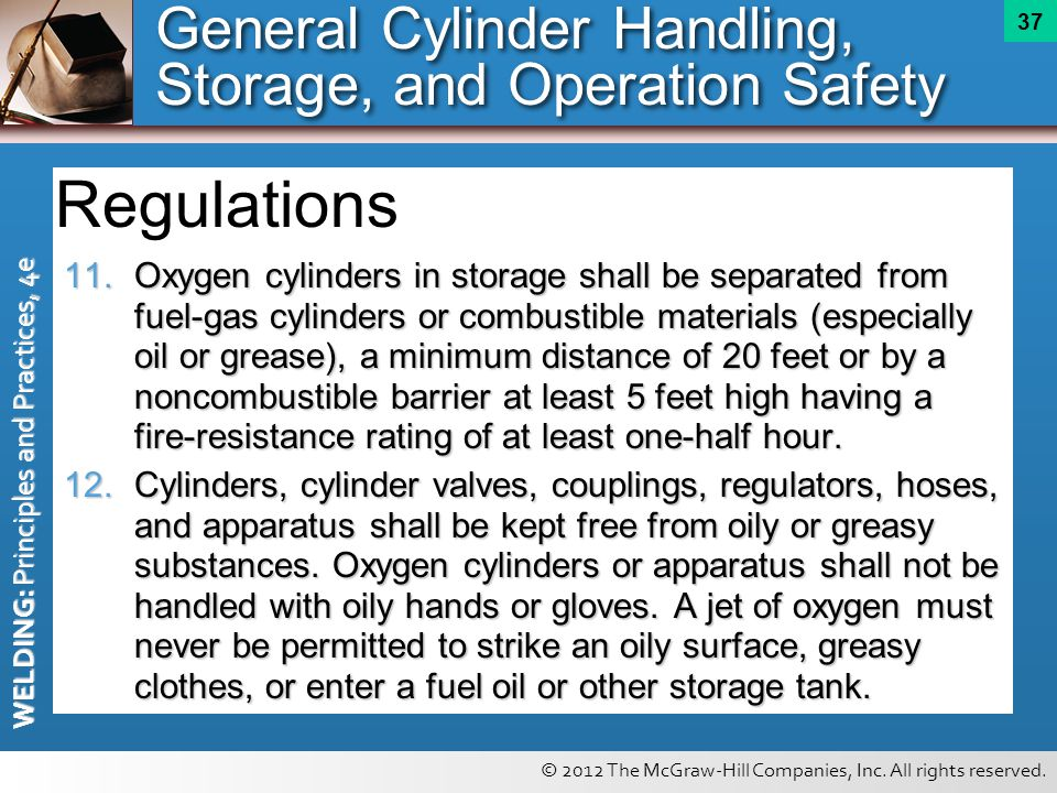 Regulations General Cylinder Handling, Storage, and Operation Safety