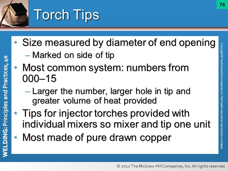 Torch Tips Size measured by diameter of end opening