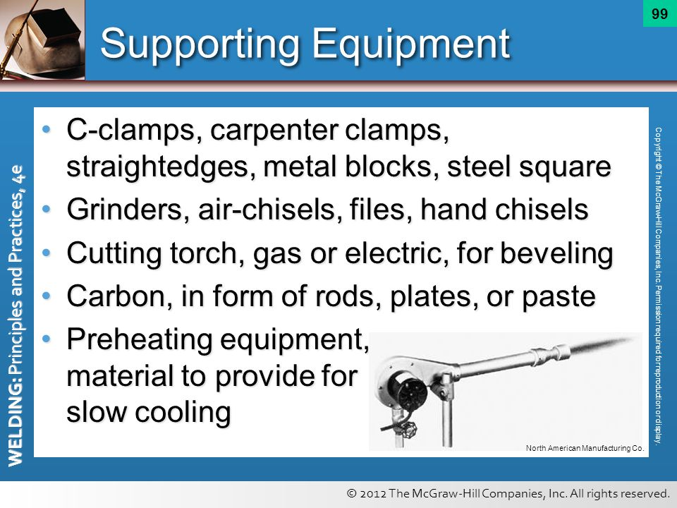 Supporting Equipment C-clamps, carpenter clamps, straightedges, metal blocks, steel square. Grinders, air-chisels, files, hand chisels.