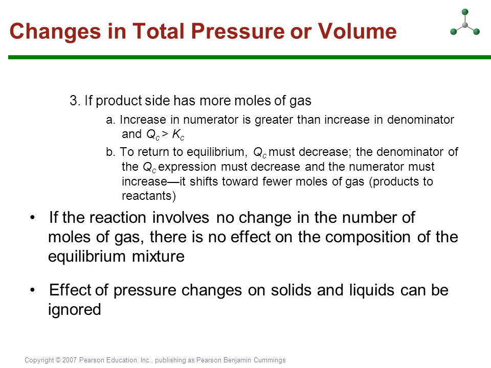 Changes in Total Pressure or Volume