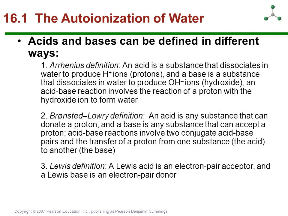16.1 The Autoionization of Water