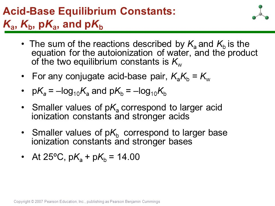 Acid-Base Equilibrium Constants: Ka, Kb, pKa, and pKb