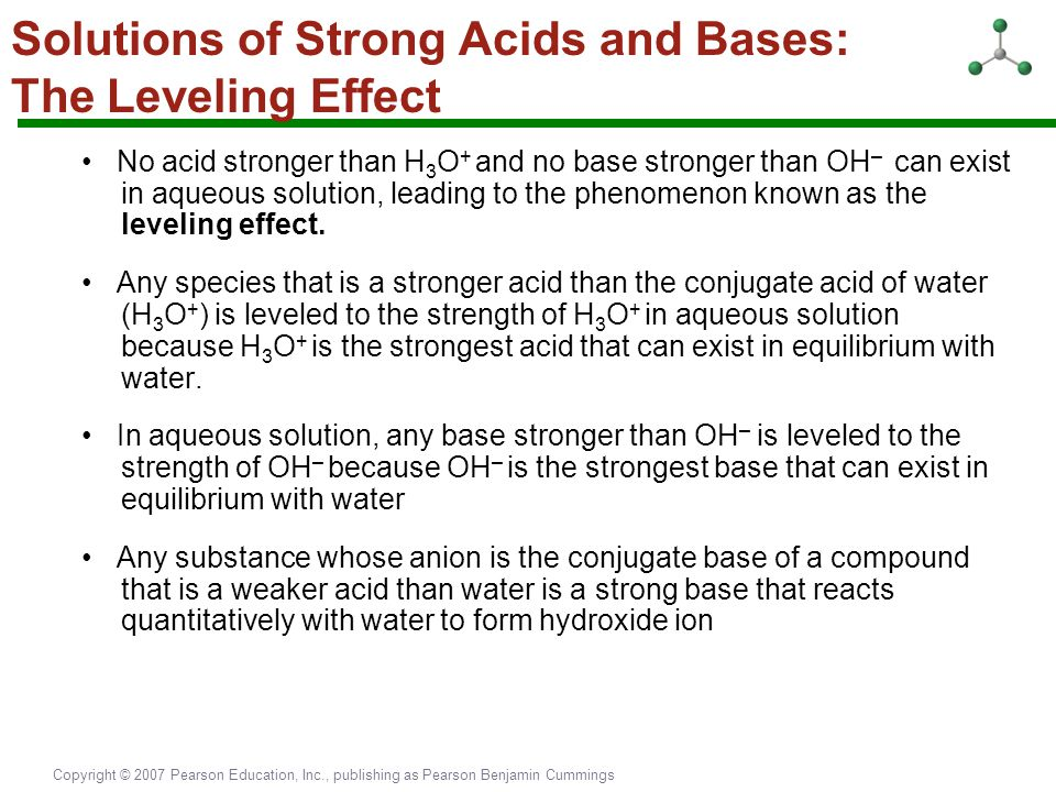 Solutions of Strong Acids and Bases: The Leveling Effect