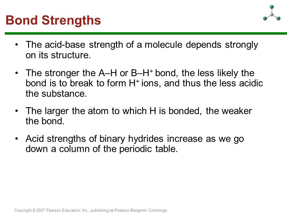Bond Strengths The acid-base strength of a molecule depends strongly on its structure.