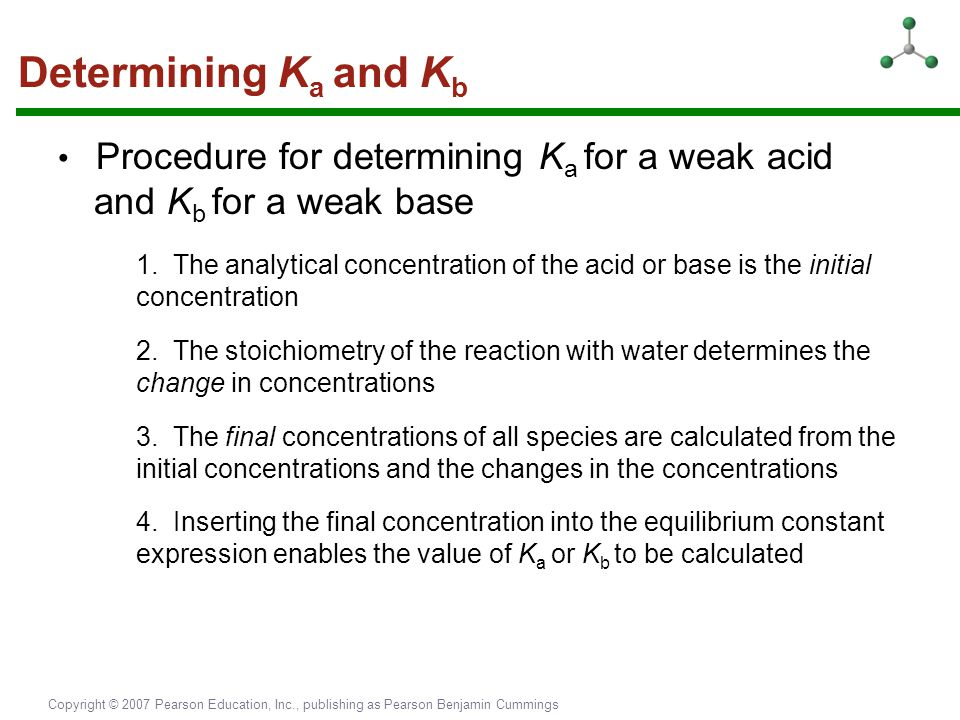 Determining Ka and Kb • Procedure for determining Ka for a weak acid and Kb for a weak base.