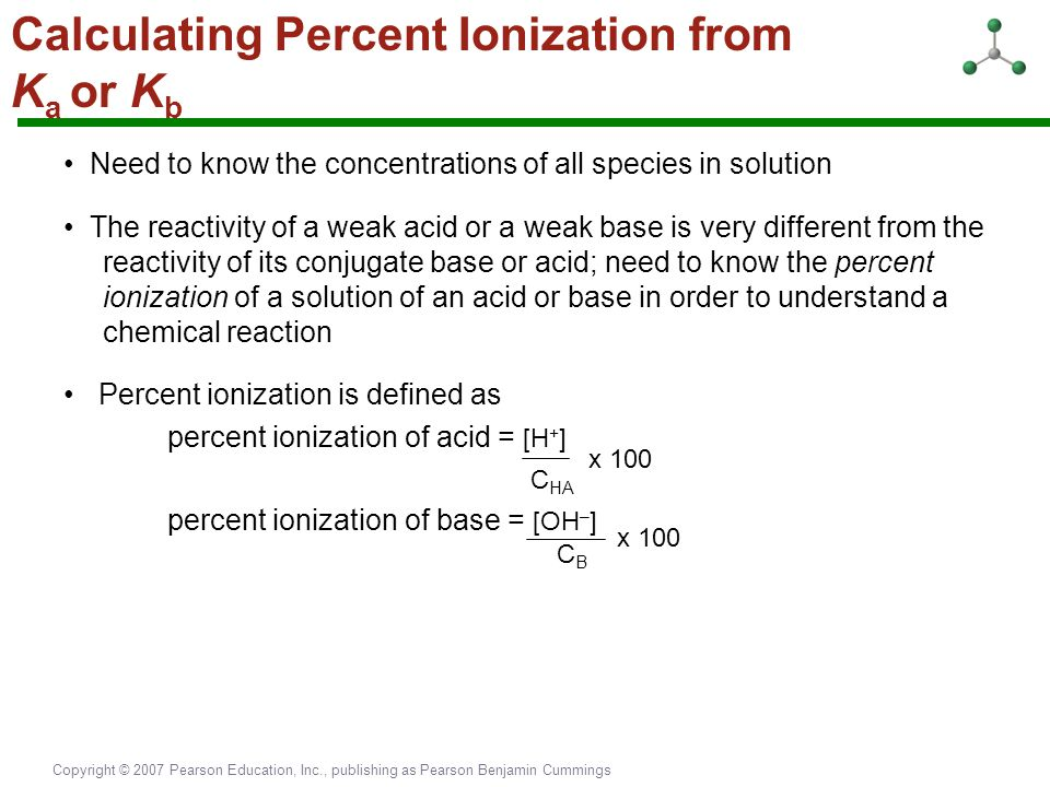 Calculating Percent Ionization from Ka or Kb