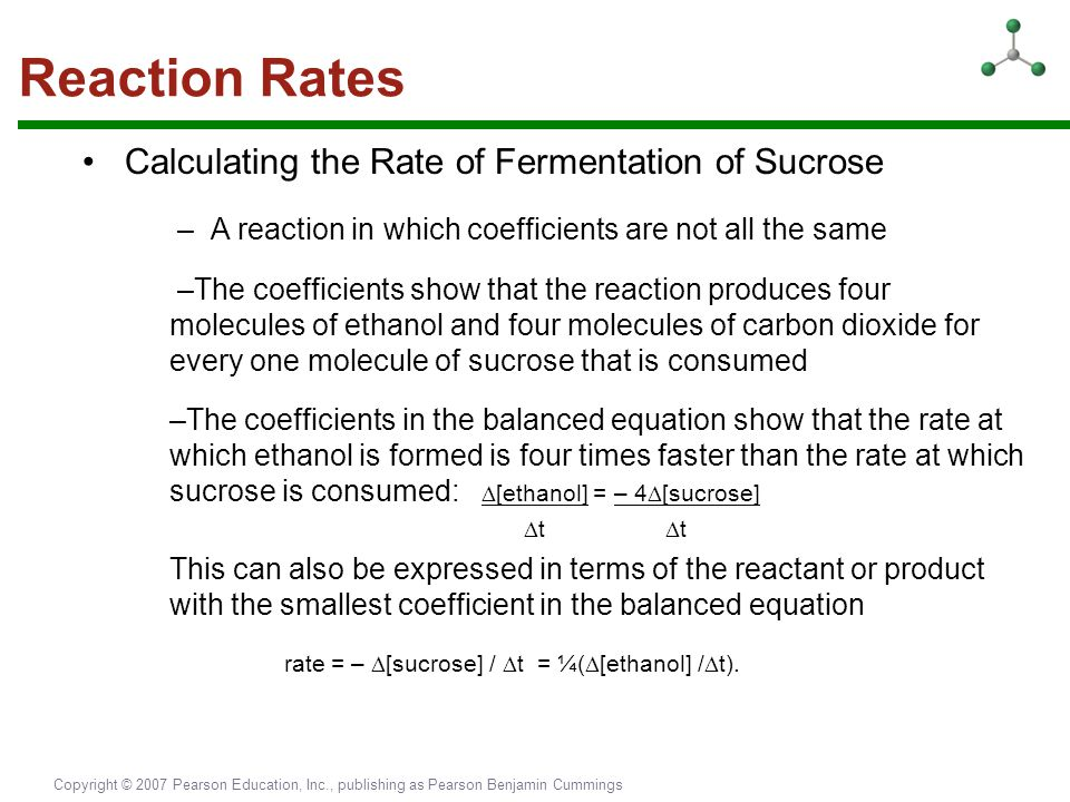 Reaction Rates • Calculating the Rate of Fermentation of Sucrose