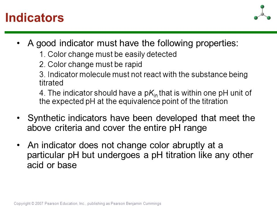 Indicators • A good indicator must have the following properties: