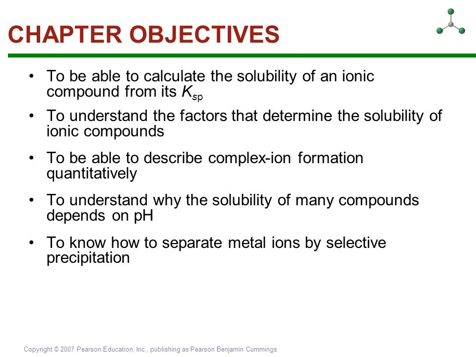 CHAPTER OBJECTIVES To be able to calculate the solubility of an ionic compound from its Ksp.