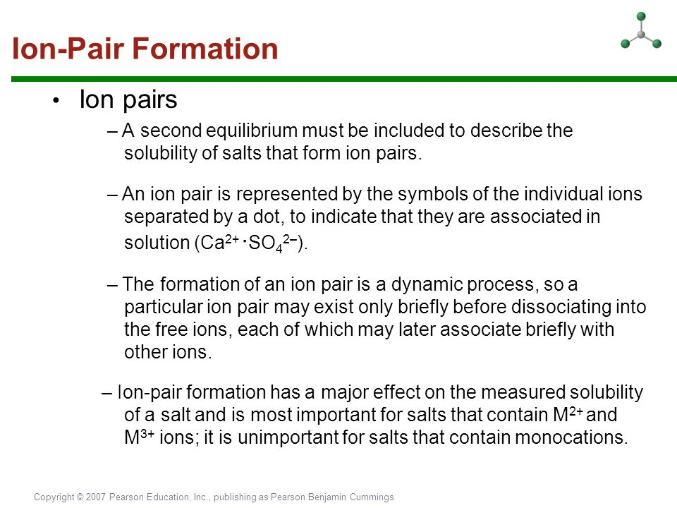 Ion-Pair Formation • Ion pairs