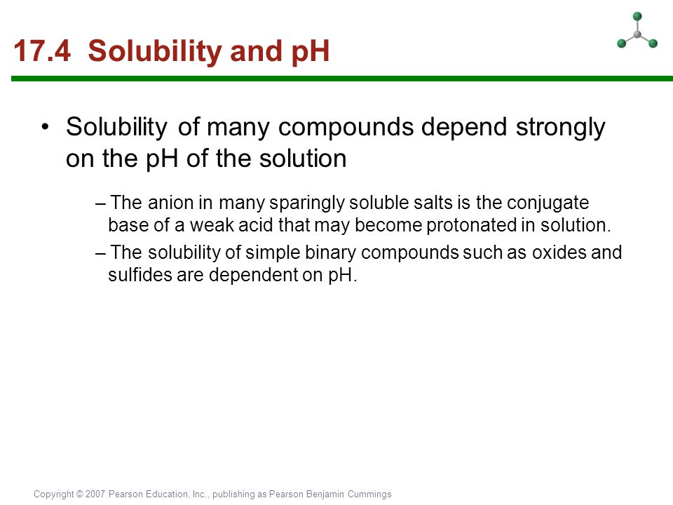 17.4 Solubility and pH Solubility of many compounds depend strongly on the pH of the solution.