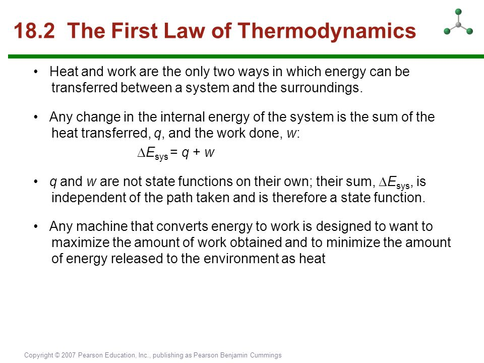 18.2 The First Law of Thermodynamics