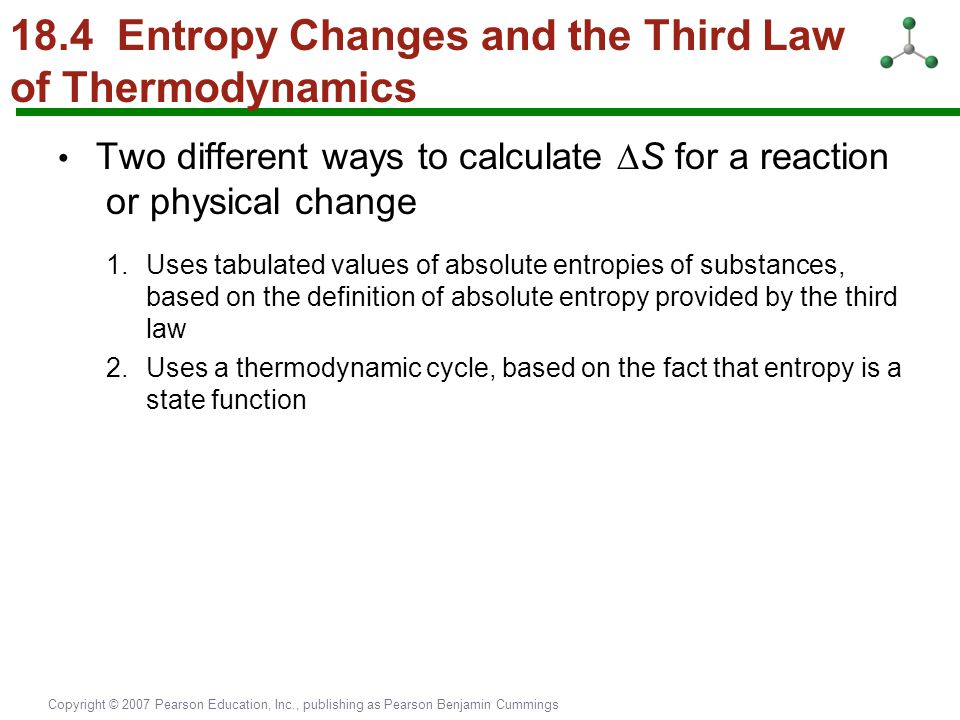 18.4 Entropy Changes and the Third Law of Thermodynamics