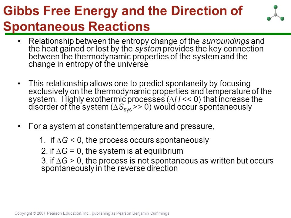 Gibbs Free Energy and the Direction of Spontaneous Reactions