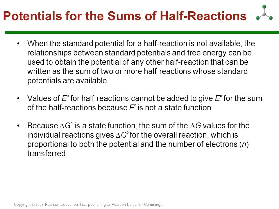 Potentials for the Sums of Half-Reactions