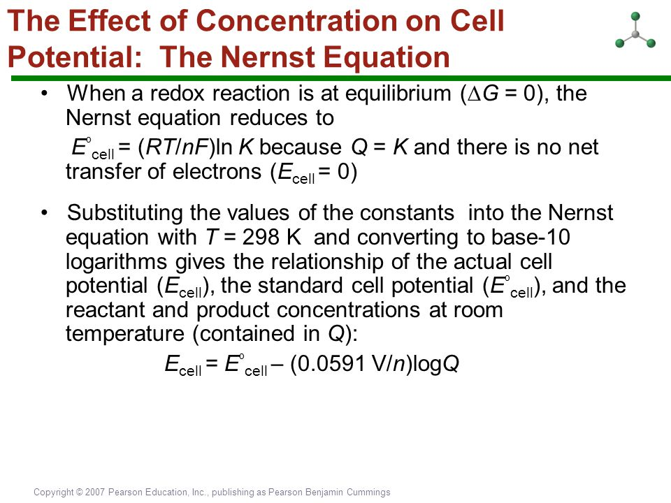 The Effect of Concentration on Cell Potential: The Nernst Equation