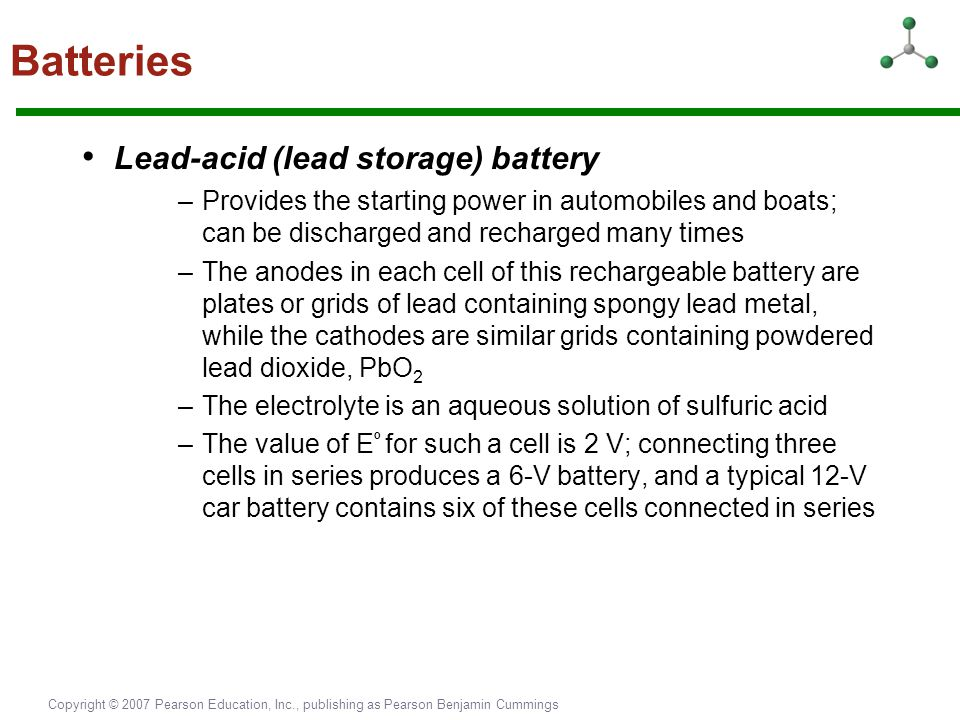 Batteries • Lead-acid (lead storage) battery