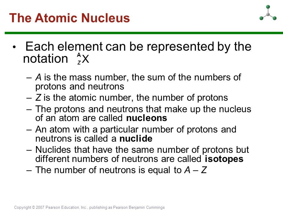 The Atomic Nucleus • Each element can be represented by the notation Z X. A is the mass number, the sum of the numbers of protons and neutrons.
