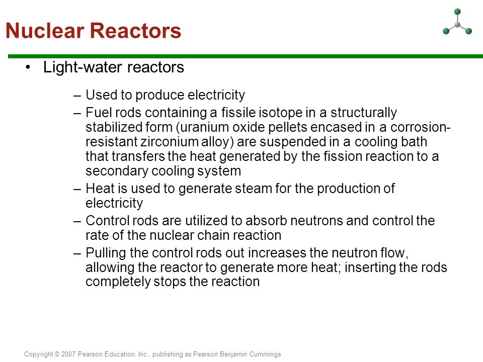 Nuclear Reactors Light-water reactors Used to produce electricity