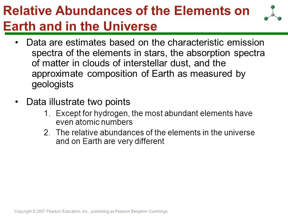 Relative Abundances of the Elements on Earth and in the Universe