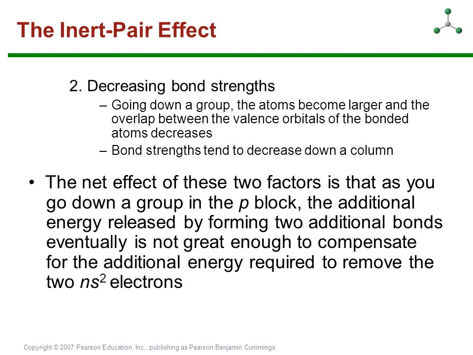 The Inert-Pair Effect 2. Decreasing bond strengths.