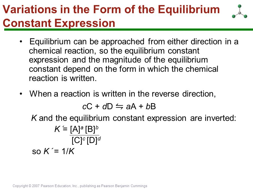 Variations in the Form of the Equilibrium Constant Expression