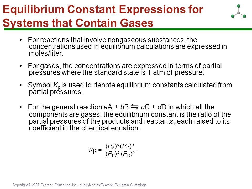 Equilibrium Constant Expressions for Systems that Contain Gases