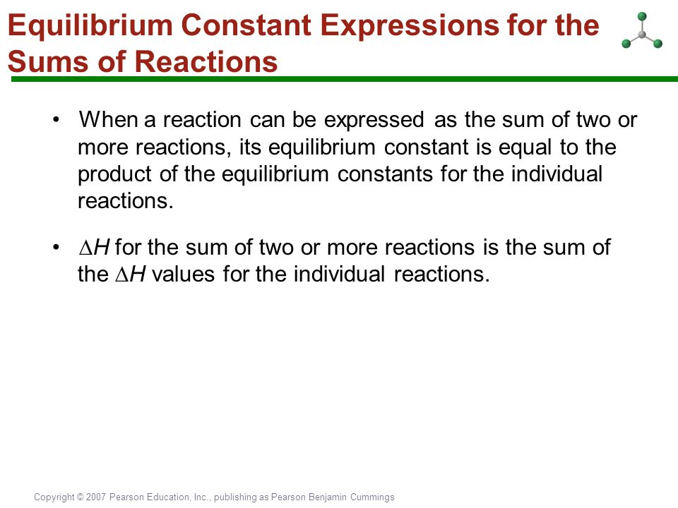 Equilibrium Constant Expressions for the Sums of Reactions