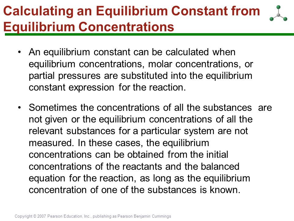 Calculating an Equilibrium Constant from Equilibrium Concentrations