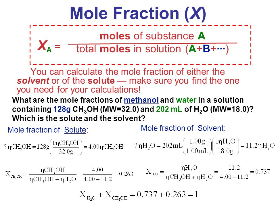 total moles in solution (A+B+∙∙∙)